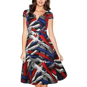 Split V Neck Vintage Geometric Fit & Flare Dress